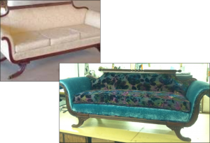 Before and After Duncan sofa reupholstered