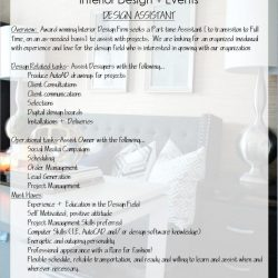 Career Opportunity-Design Assistant!  Send Resume today!