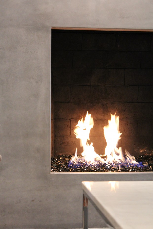 CURE Contemporary Living Room-Custom Concrete Fireplace