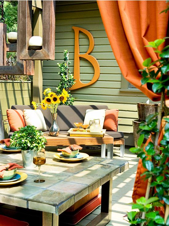 Comfortable and colorful outdoor space