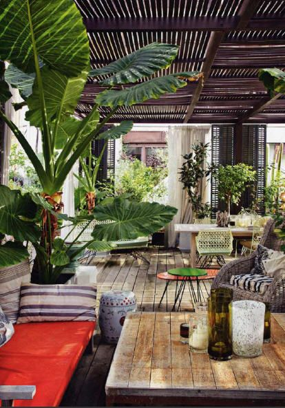 Rustic chic outdoor living space