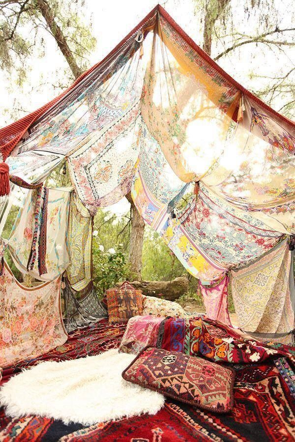 scarf tent insprired outdoor lounge